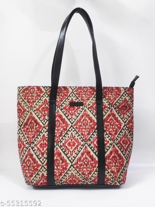 Block print tote handbag