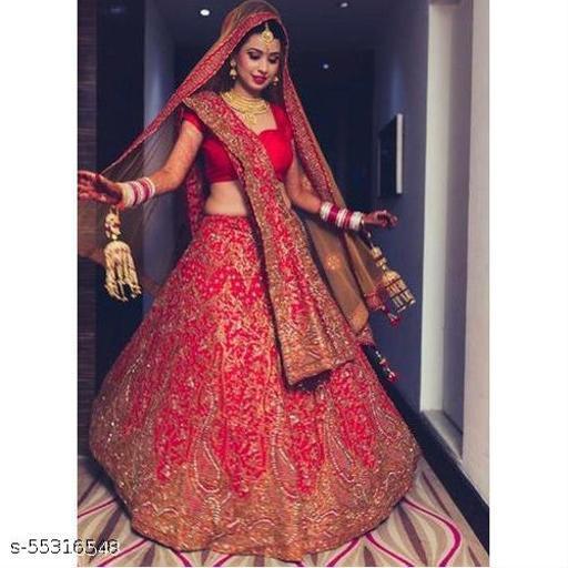 Fashions Women's Tafetta Silk Semi Stitched Lehenga Choli (_Free Size)