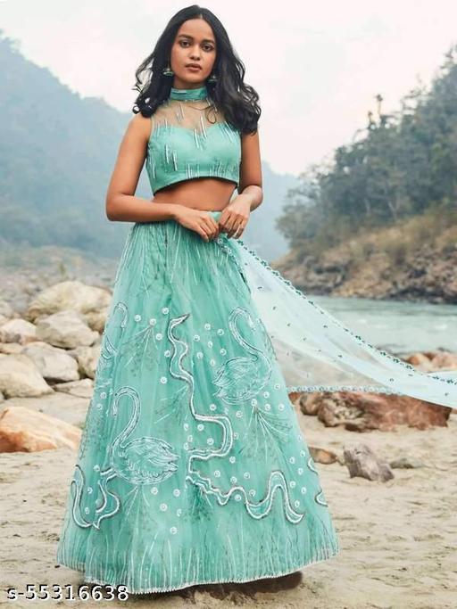 INDIA Women's Rayon & Cotton Readymade Lehenga Choli