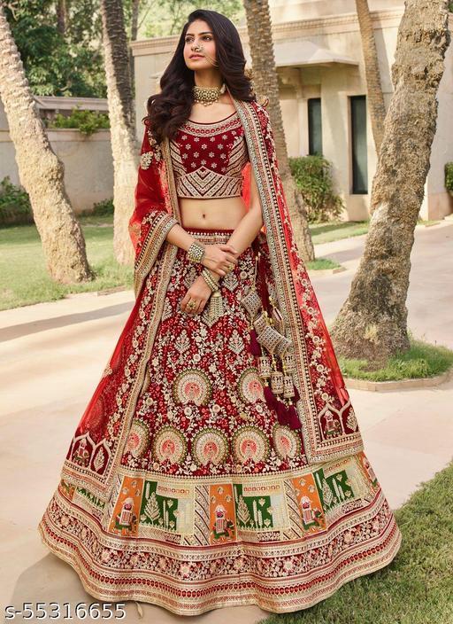 Fashions Women's Chain Stitch Semi Stitched Net Lehenga Choli (Lavender_Free Size)
