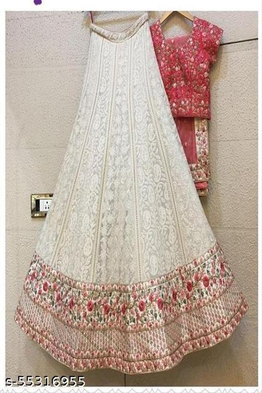 Women's Net Embroidered Semi-Stitched Lehenga Choli (peach_Free Size)
