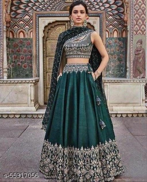 Women's Pearls Work Light  Lehenga Choli