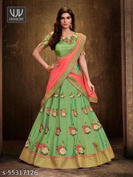 Villa Women's Net Semi stitched Lehenga Choli (haldi__Free Size)