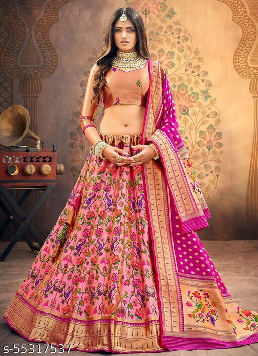 Women's Poly Silk Readymade Lehenga Choli Set