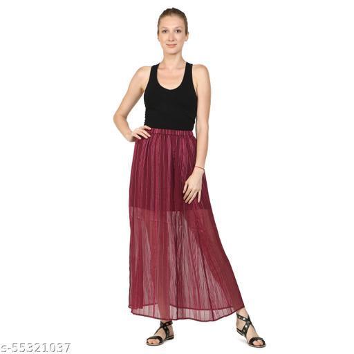 DRIRO Women Printed Straight Poly Chiffon Lurex Stripe Skirt (Drps071_Wine)