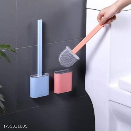 Eco-Friendly Silicon & Smart Bathroom Cleaning Brush, Sink Cleaning Brush with Holder Flexible Toilet Brush with Holder (Pack of 2)