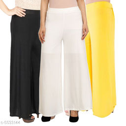 Women's Solid Pack of 3 Palazzo