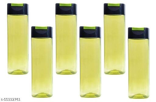 Plastic Zing Square with Flip Top Cap, 1000 ML, Pack of 6 Water Bottle Color Blue (Olive Green)