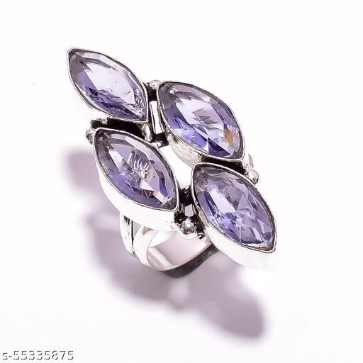 Amethyst Gemstone Ethnic Style Silver Plated Ring 8 US DR-78