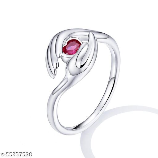 New Trend Heart Red Stone Diamond Gift Eternal Love with Hands Ring 925 Original Silver Ring