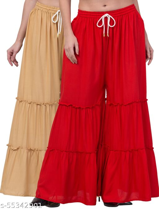 Lalymart Rayon Flared Gharara Sharara For Women & Girl Pack of 2 (Free Size, 26 - 42 Inch, Foam Red )