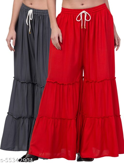 Lalymart Rayon Flared Gharara Sharara For Women & Girl Pack of 2 (Free Size, 26 - 42 Inch, Grey Red )