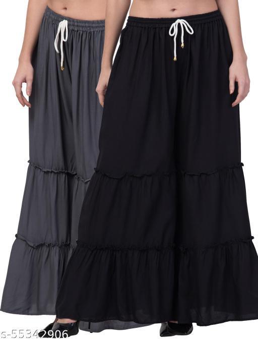 Lalymart Rayon Flared Gharara Sharara For Women & Girl Pack of 2 (Free Size, 26 - 42 Inch, Grey Black )