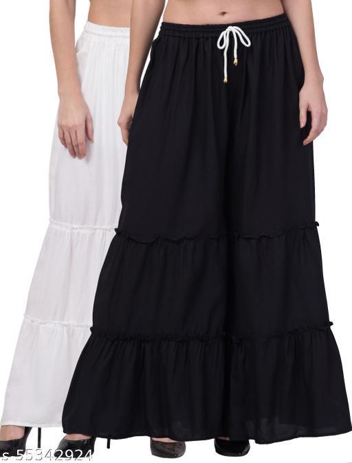 Lalymart Rayon Flared Gharara Sharara For Women & Girl Pack of 2 (Free Size, 26 - 42 Inch, Black White )