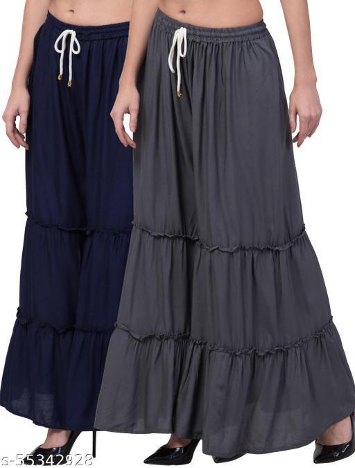 Lalymart Rayon Flared Gharara Sharara For Women & Girl Pack of 2 (Free Size, 26 - 42 Inch, Navy Grey )