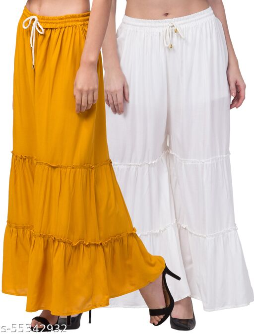 Lalymart Rayon Flared Gharara Sharara For Women & Girl Pack of 2 (Free Size, 26 - 42 Inch, White Musturd )