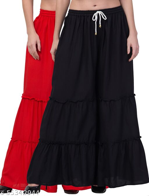 Lalymart Rayon Flared Gharara Sharara For Women & Girl Pack of 2 (Free Size, 26 - 42 Inch, Red Black )