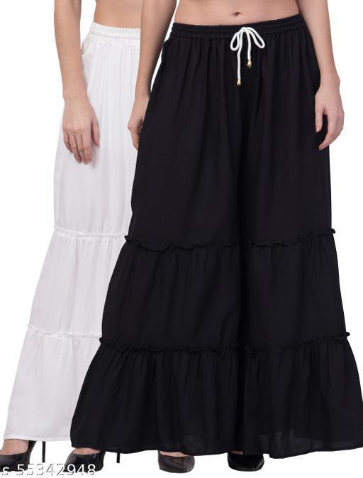 Lalymart Rayon Flared Gharara Sharara For Women & Girl Pack of 2 (Free Size, 26 - 42 Inch, White Black )