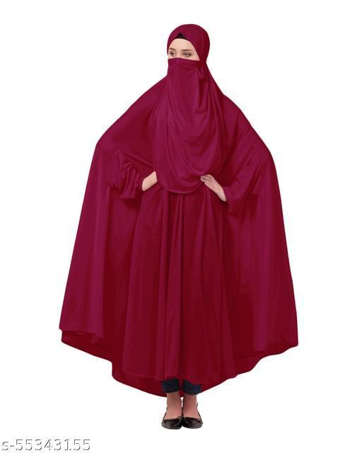 Nazneen Maroon Two  Ways with Extra Nose Piece Head To Toe Free Size Jilbab cum Naqab
