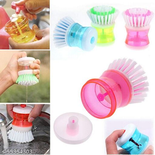 GMPC Dish/Washbasin/Sink Cleaning Brush with Liquid Soap Dispenser (Pack of 2 )