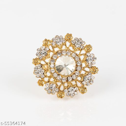 Navven Collection Gold Plated Artifical Ring with Free Size For Women and Girls