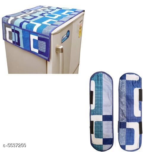 Appliance Covers Designer Fridge Top Cover & Fridge Handle Covers   *Material* Top Cover & Handle Cover- Polyester  *Size (L x W)* Fridge Top Cover - 42 in X 21 in, Fridge Handle Cover - 42 in X 21 in  *Description* It Has 1 Fridge Top Cover and 2 Pieces Of Handle Covers  *Work* Printed  *Sizes Available* Free Size *    Catalog Name: ''New Stylish Fridge Covers & Fridge Handle Covers Combo CatalogID_827477 Code: 622-5537250-
