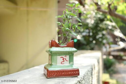 Ceramic Mini Tulsi Plant Container, Ceramic Tulsi Planter Pot with OM and Swastik Design, Green and Brown Glossy Finish Ceramic Tulsio Pot Indoor/Outdoor (Plant is Not Included )
