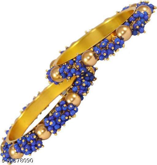 ZULKA Metal and Studded with Acrylic (Plastic) Pearls Glossy Kada Set For Women/Girls, (Blue), Pack Of 2 Kada Set