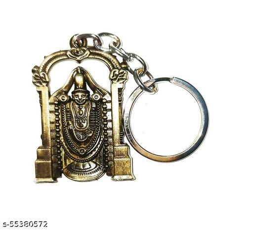 Auspice Lord Tirupati Balaji Metal Keychain and Keyring (Bronze)