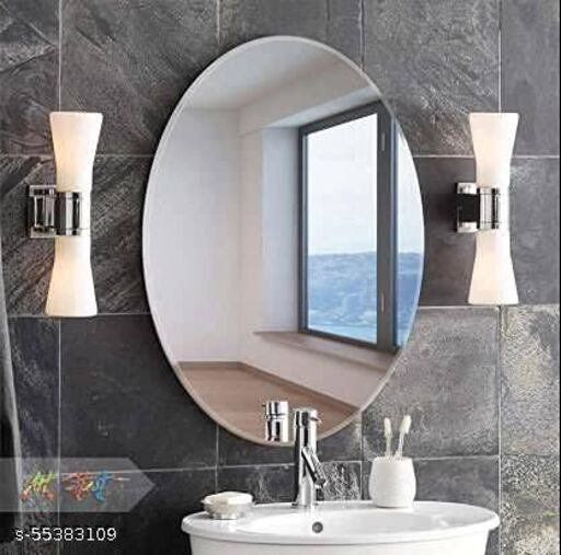 Flexible Mirror Sheets Self-Adhesive Plastic Mirror Tiles Non-Glass Mirror Stickers for Home Decoration (Oval Shape)