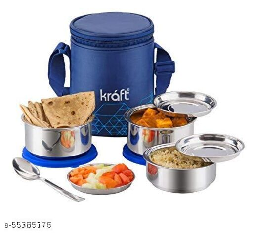 Kraft GO Delight Stainless Steel Insulated Lunch Box Set of 3 with Free Lid and Spoon