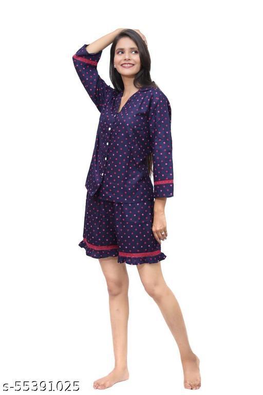 Tekan Women Printed Nighty top and short set Blue