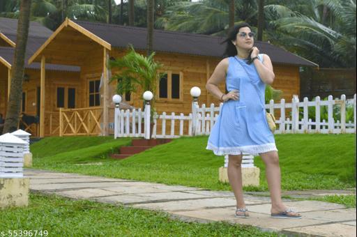 breezy blue trendy cotton dress