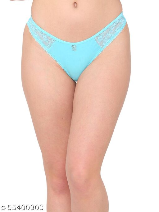 N-Gal Women's Delicate Both Side Lace Detail Mid Waist Underwear Lingerie Thong Brief Panty_Blue