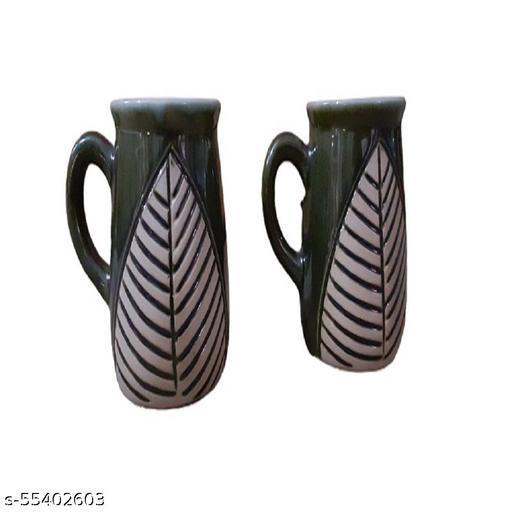 Pottery Mart Coffee Leaf, White Colour   7*7*10 cm   1 Set - 2 Piece - 350 ML   Coffee with Leaf Design- Birthday Gift for Friends - Coffee Ceramic Coffee Mug  (350 ml)