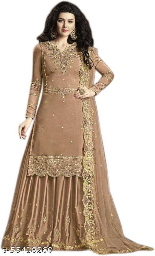 Faux Georgette Embroidered Salwar Suit Material  (Unstitched)