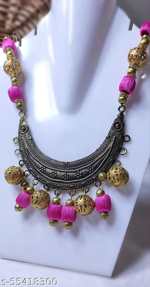 rose pink necklace with golden beads with antique golden pendants