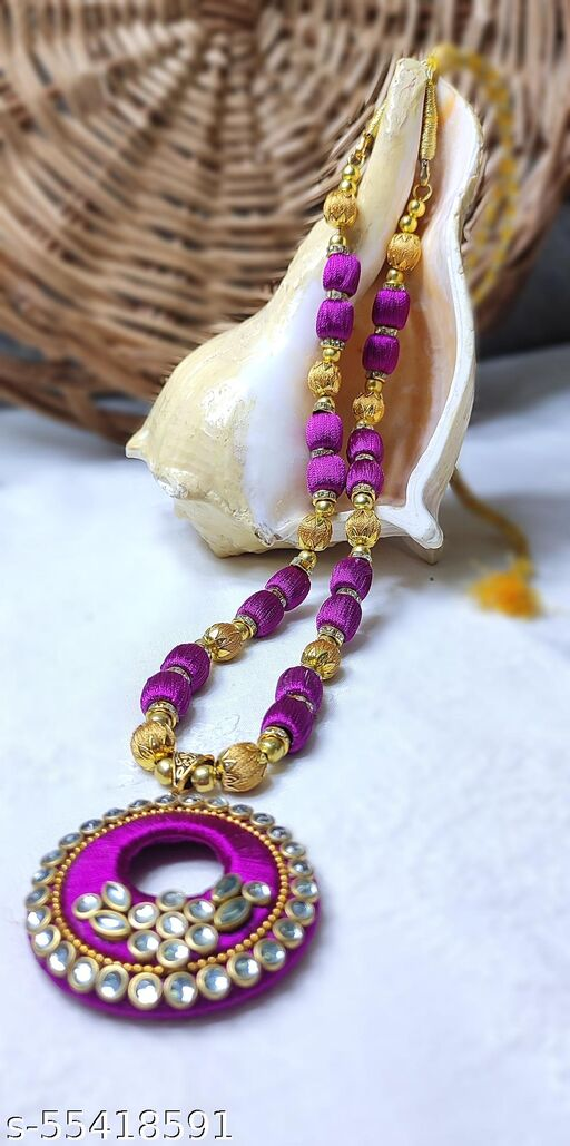 falsa and golden silk thread necklace with kundans and jhumkas