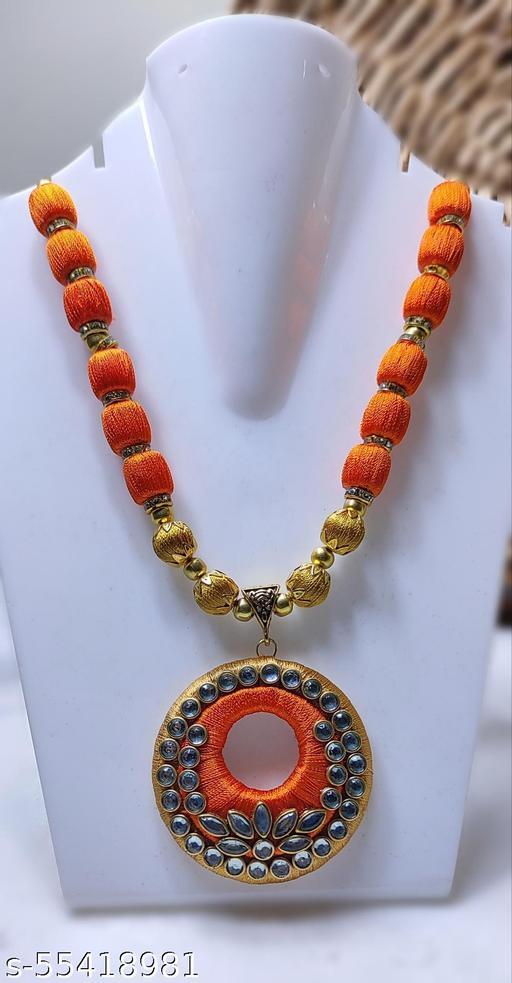 orange and golden silk thread necklace with kundans