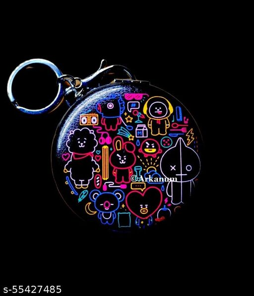 Cute BTS BT21 Themed Unbreakable Handy Pocket Mirror With Keyring and hook Pocket Makeup Metal Unbreakable Mirror Keychain Model C