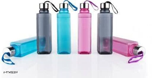 Water Bottle with Stainless Steel Cap for School, College, Office 1000 ML Bottle (Pack of 6, Multicolor, Plastic, Steel)
