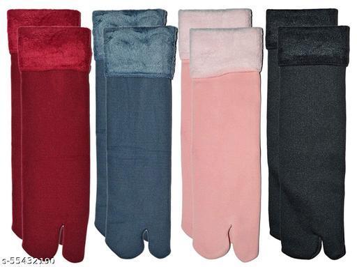 Velvet socke Women's Ankle Length Cotton & Fur Socks (Pack of 4)