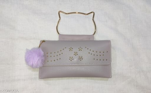 Double side purple wallet for girls and women