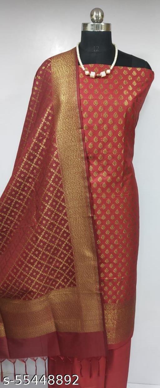 (K2Maroon) Fabulous Banarsi Pure Silk Suit And Dress Material