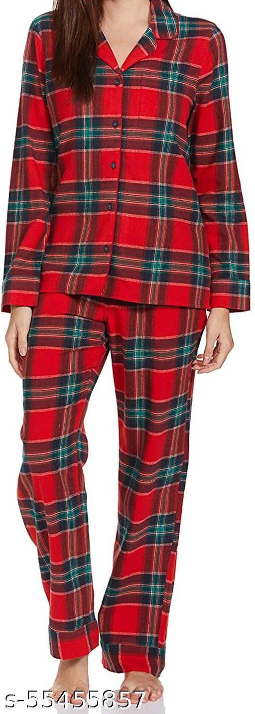 Women's Soft Cotton Full Sleeve Sleepwear Suit Shirt & Pant Set Red Green