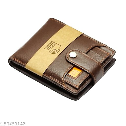 LIMERENCE Men Brown RFID Protected Genuine Leather Wallet