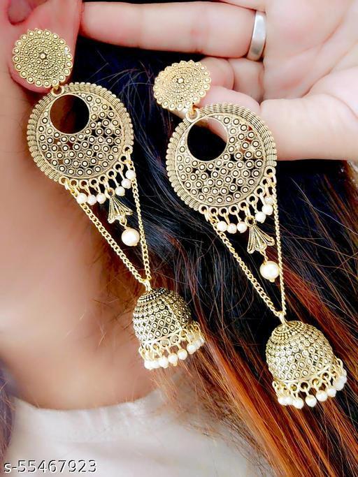 Thrillz (FFER275) Golden Brass Earring For Women,Girls