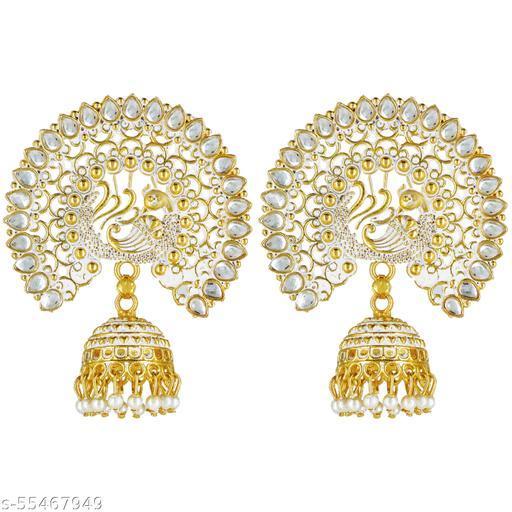 Thrillz (FFER263) White Brass Shinning Stone Earring For Women , Girls -6 Cms Long