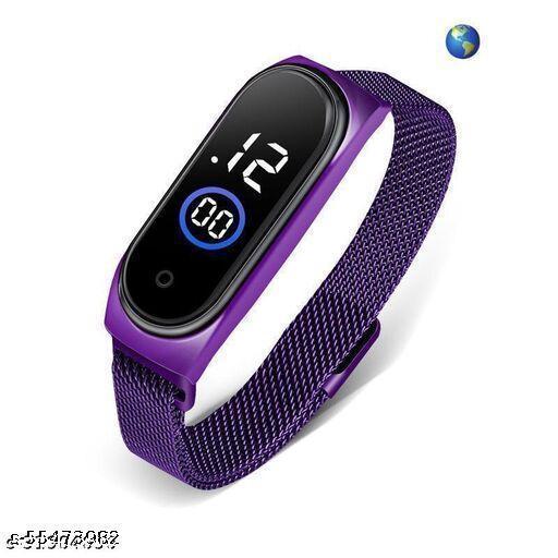 Digital Led Watch Purple Magnet Belt Womens watch