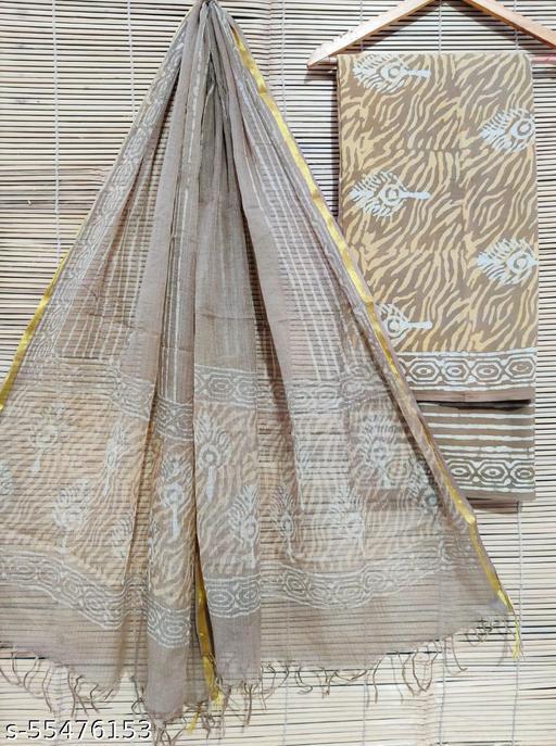Handblock Printed Cotton Suits With Kota Dupatta